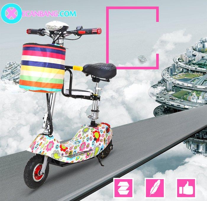 Xe điện E-Scooter mini dùng pin 24V có yên cho bé 2