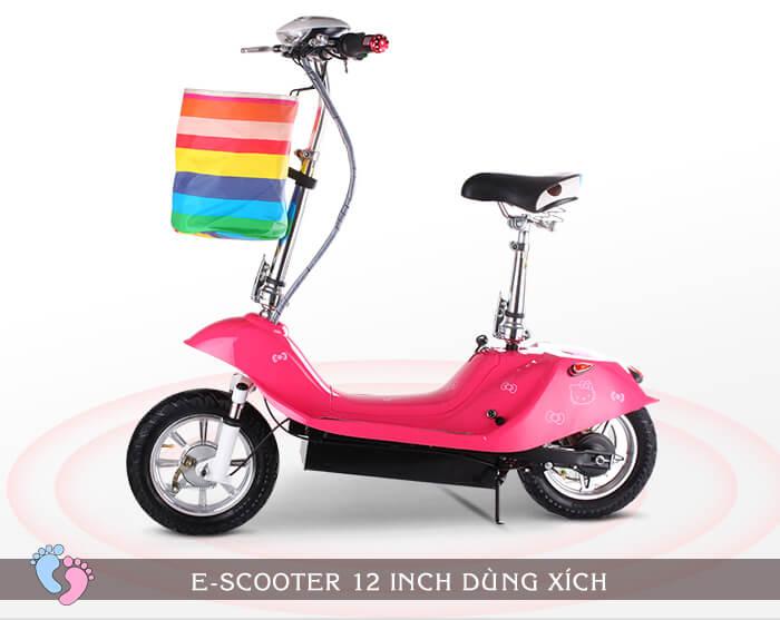 Xe điện E-Scooter mini 12inch 24V Dùng xích 4