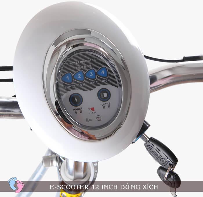 Xe điện E-Scooter mini 12inch 24V Dùng xích 6