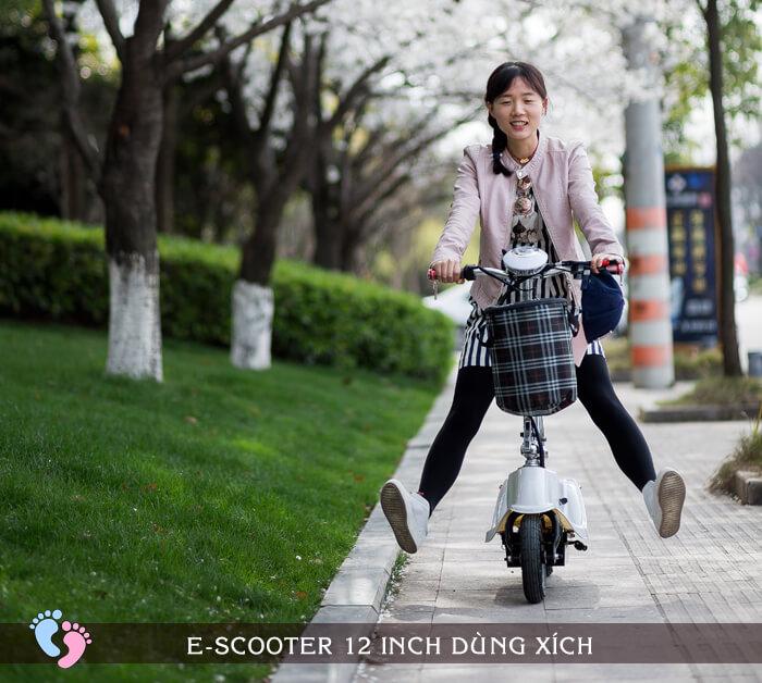Xe điện E-Scooter mini 12inch 24V Dùng xích 7