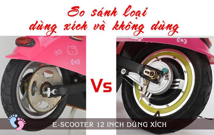 Xe điện E-Scooter mini 12inch 24V Dùng xích 8